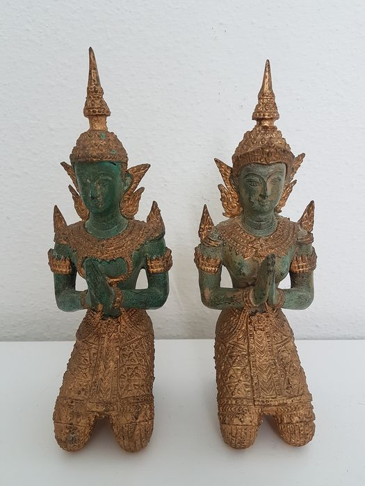 Gilt temple guards (2) - Bronze - Thailand - Second half 20th century