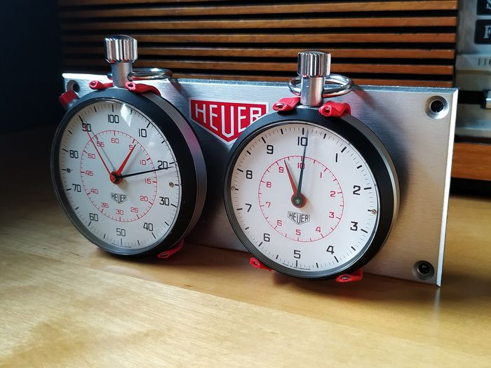 RALLY RACE CHRONOMETRAGE SYSTEM - HEUER - TIME KEEPING 2X TAYLOR SPLIT / FAST RUN 10/10 STOPWATCHES - 1970