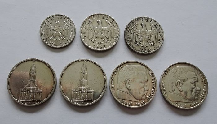 Germany - Lot of 7 Various 1, 2 and 5 Reichsmark Coins  1925-1936  - Silver