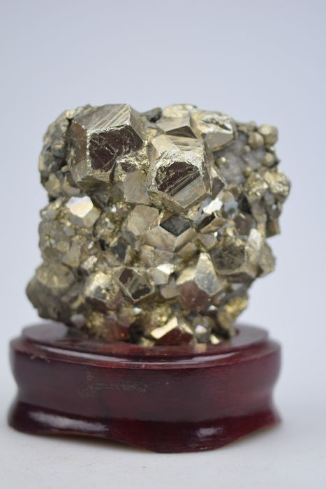 Pyrite rough on wooden standard - 12×9×5 cm - 900 g