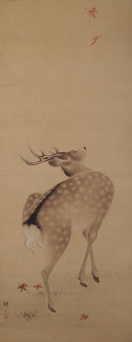 Hanging scroll, Painting - Paper, Silk - Deer - with signature 'Kozan 耕山' - Japan - Early 20th century