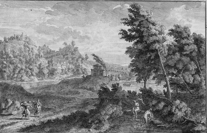Adolf van der Laan, Johannes Glauber - Large Arcadian landscape with bathing women.