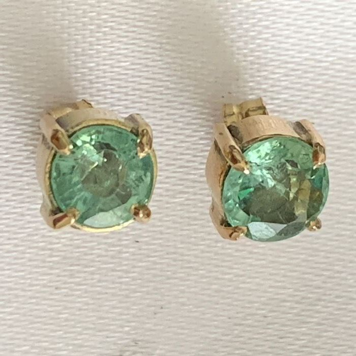 18 quilates/750 White gold, Yellow gold - Earrings Peridot