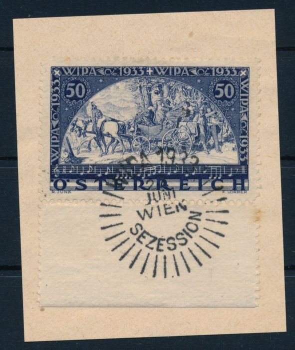 Autriche 1933 - Wipa exhibition, 50 gr. blue, luxury letter piece from the lower margin - Michel Nr. 555A