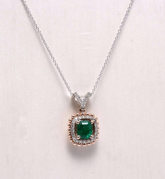 14 kt. Pink gold, White gold - Pendant - 0.75 ct Emerald - Diamond