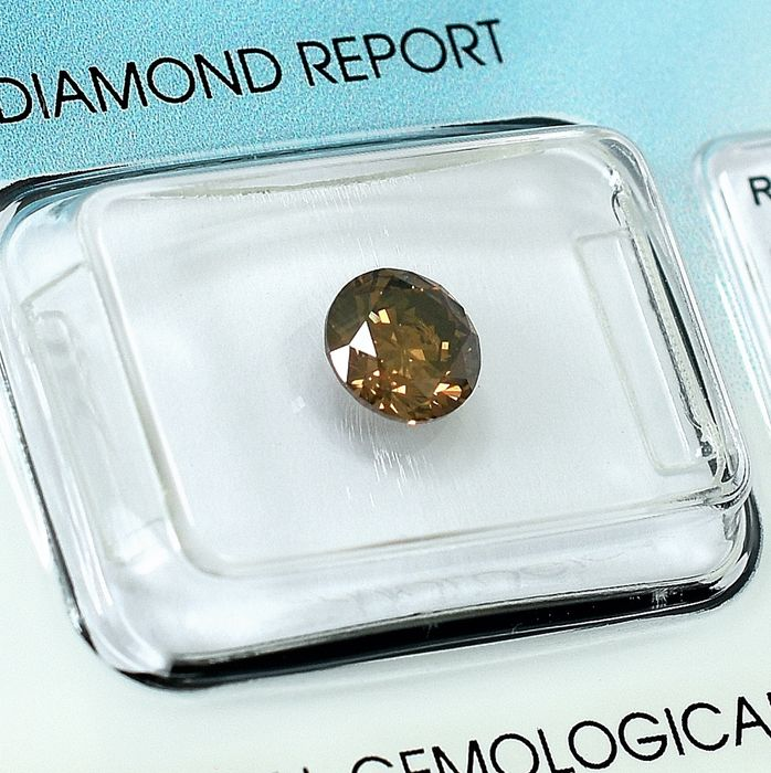 Diamante - 1.01 ct - Brillante - Natural Fancy Deep Yellow Brown - SI1