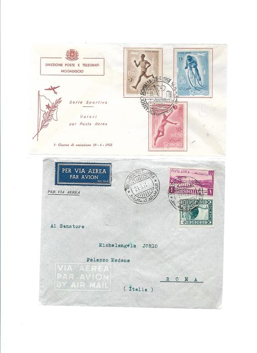 Somalia AFIS 1950/1958 - letters and postcards franked with stamps of Somalia AFIS regular and air mail