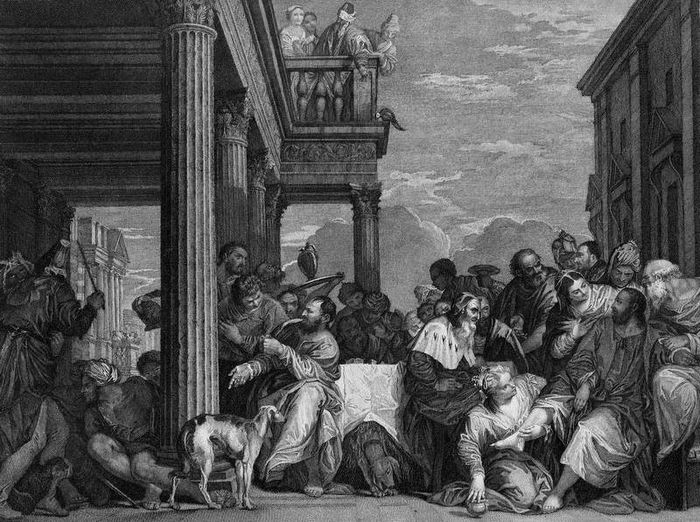 Paolo Veronese, Giovani Volpato, 1772 - Large engraving: Feast (Christ) in the House of Simon, after Veronese