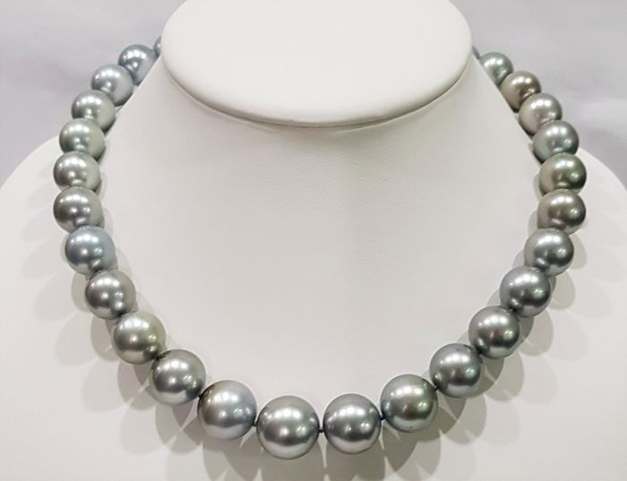 NO RESERVE PRICE - 14 kt. White Gold - 12x16.2mm Round Tahitian Pearls - Necklace
