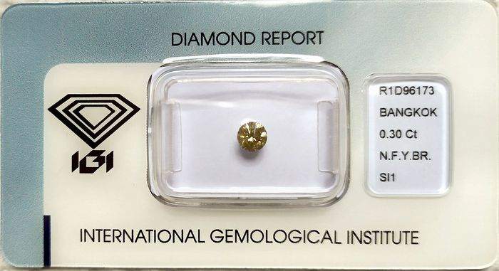 Diamond - 0.30 ct - Brilliant, Round - fancy yellowish brown - SI1