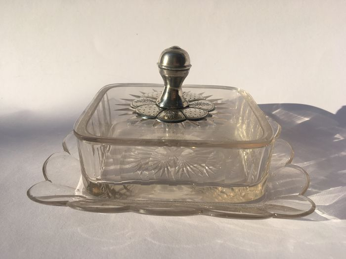 butter dish on bottom scale (1) - Biedermeier - crystal and silver