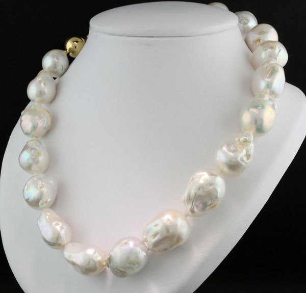 14 kt. Yellow gold - Necklace Particularly large freshwater cultured pearls up to 17.3 mm lively luster --- No reserve price