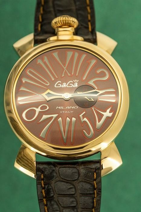 GaGà Milano - Watch Slim 46MM Rose Gold Brown Leather Strap - 5085 - Unisex - Brand New