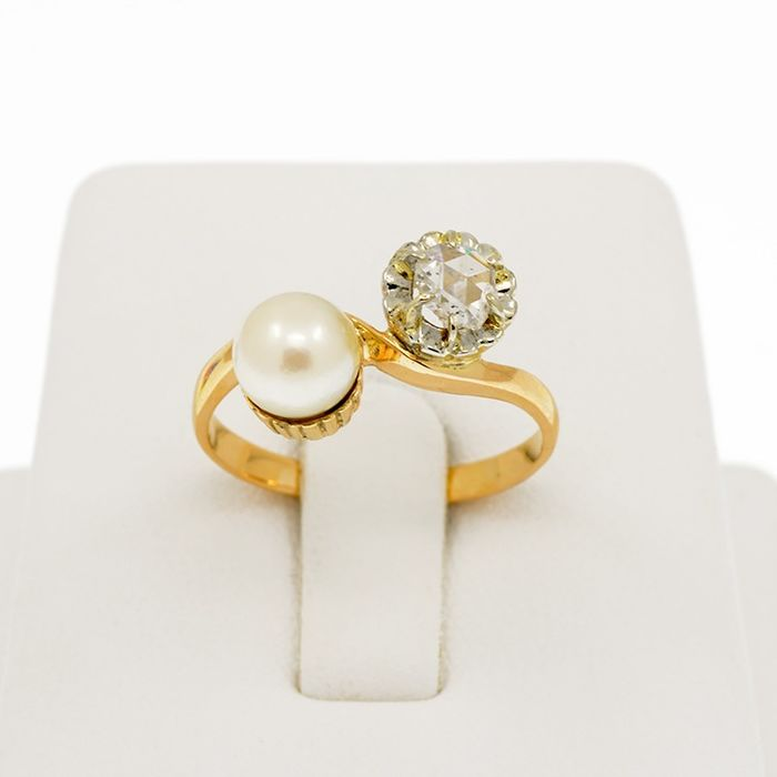14 kt. Saltwater pearls, Yellow gold - Ring - 0.10 ct Diamond - Pearl