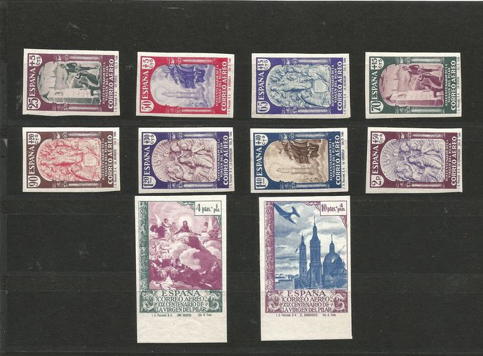 Spain 1940 - 19th Centennial of the apparition of Our Lady of the Pillar in Zaragoza set - Edifil 904s/912s, 913ccs