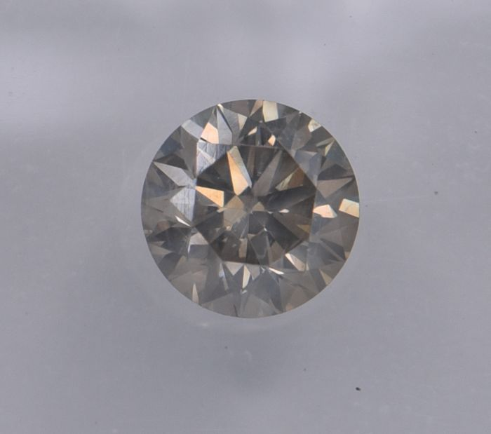 1 pcs Diamond - 0.69 ct - Round - light brownish grey  - VS2, No Reserve Price!