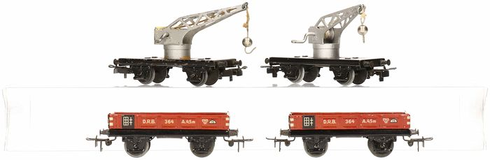 Märklin H0 - 366/364 - Freight carriage - 2 Crane cars and low side cars