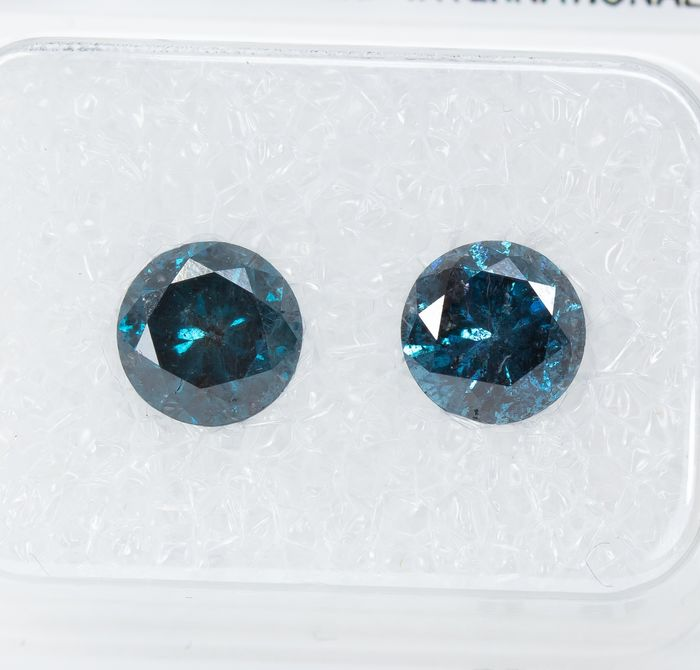 2 pcs Diamonds - 1.50 ct - Fancy INTENSE Blue Diamond Lot - I3  *NO RESERVE*