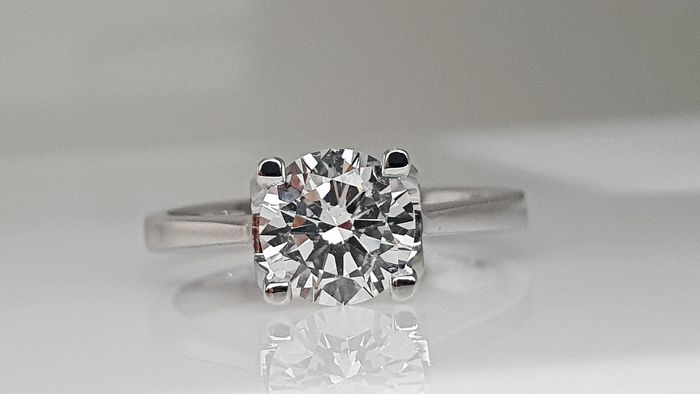 18 kt. White gold - Ring - Clarity enhanced 1.13 ct Diamond