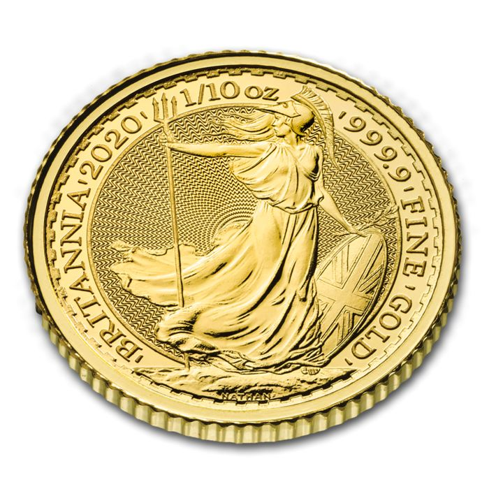 Verenigd Koninkrijk. 10 Pounds 2020 British Royal Mint Britannia 1/10 oz