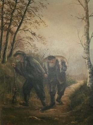 Frans de Beul (1849-1919) - Coming back from hunting