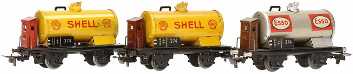 """Märklin H0 - 374 - Freight carriage - """"Esso"""" and """"Shell"""" 3 wagons"""