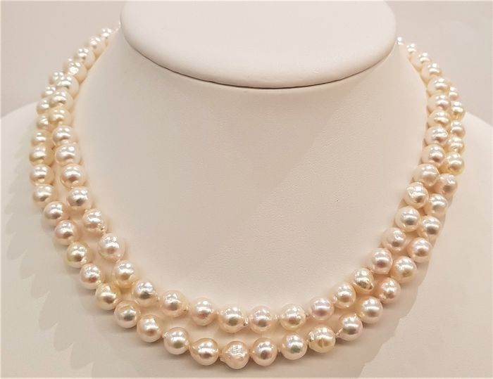 NO RESERVE PRICE - 18 kt. Rose Gold - 7x8mm Akoya Pearls - Necklace