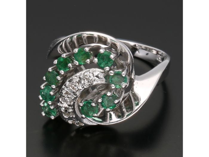 18 kt. White gold - Ring - 0.10 ct Diamond - Emerald