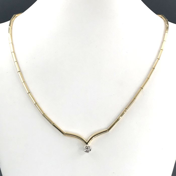 18 kt. Yellow gold - Necklace - 0.10 ct Diamond