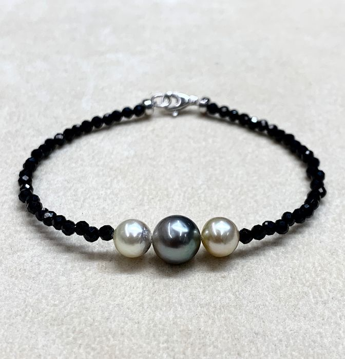 925 Golden south sea pearl, Saltwater pearls, Silver, South sea pearls, Tahiti pearls, Black spinels faceted # No Reserve Price # - Bracelet - Spinels