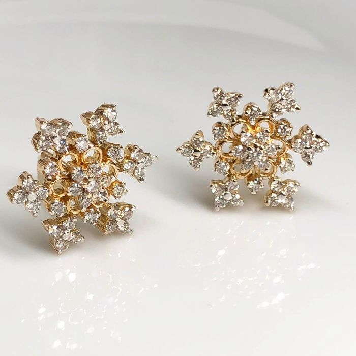 18 kt. Yellow gold - Earrings - 1.41 ct Diamond