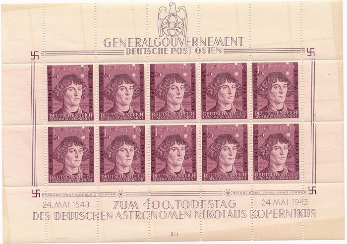 Generalgouvernement 1943 - 400. Anniversary of Death Copernicus, all 8 small sheets in both numbers with form numbers 1 - 4 - Michel Nr. 104 Kleinbogen I/II,  1 - 4