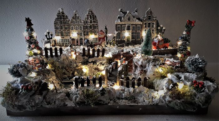 """Christmas scene """"The canals"""". (1) - Wood, Plastic, Iron"""