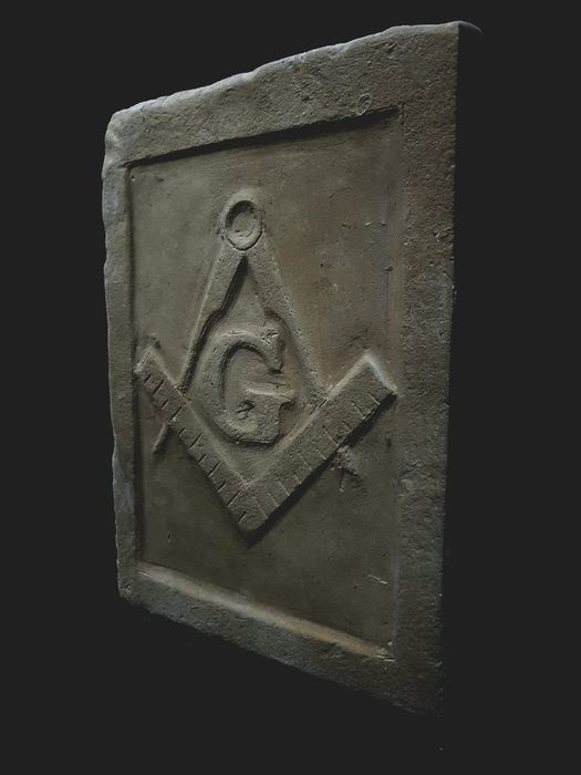 Sculpture, Masonic Bas-relief (compass is team) (1) - Stone (mineral stone)