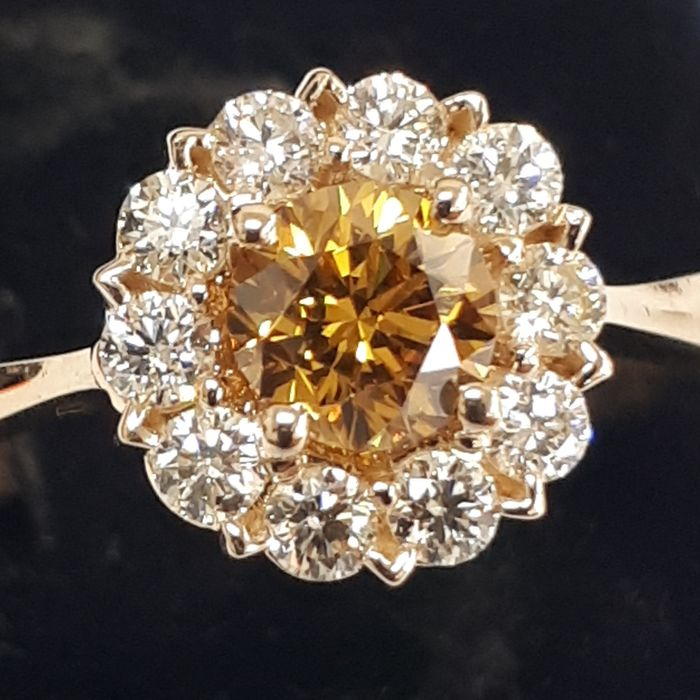 14 kt. Yellow gold - Ring - 0.97 ct Diamond