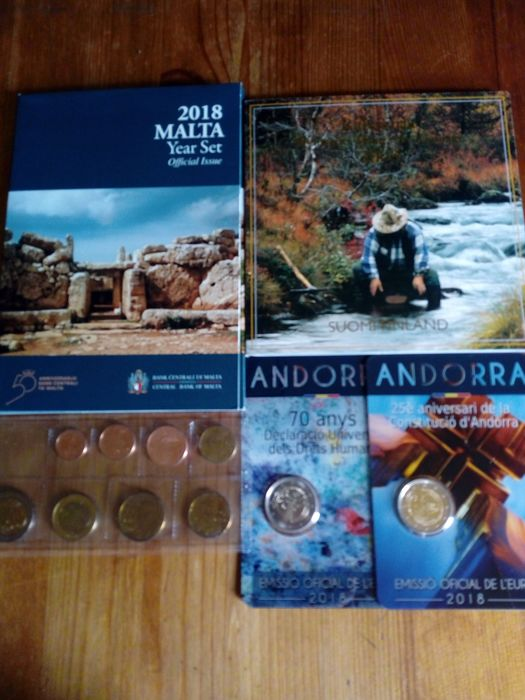 Andorra, Finland, Greece, Malta - Lot various Eurocoins 2006/2018 (4 items)