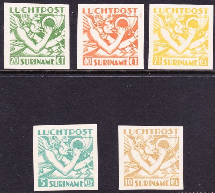 Suriname 1941 - Imperforate proofs Mercury head Indies print