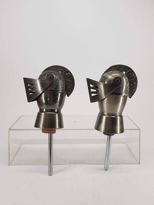 Two beautiful Art-Deco Wine Pourers in the form of Harness Helm - Silverplate