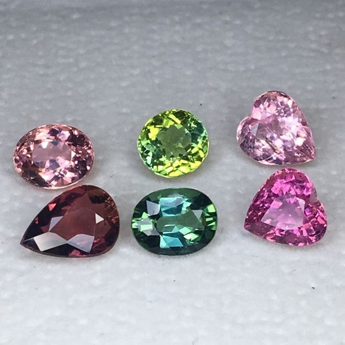 6 pcs mix colour Tourmaline - 6.35 ct