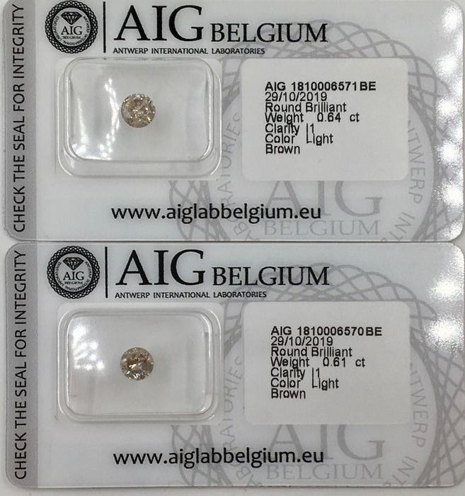 2 pcs Diamonds - 1.25 ct - Brilliant - Light Brown  - I1