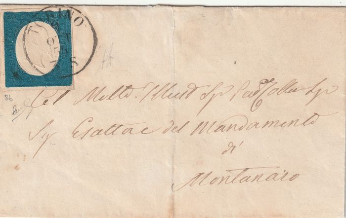 Sardinië 1854 - 20 cents azure on letter from Turin to Montanaro - Sassone N. 8