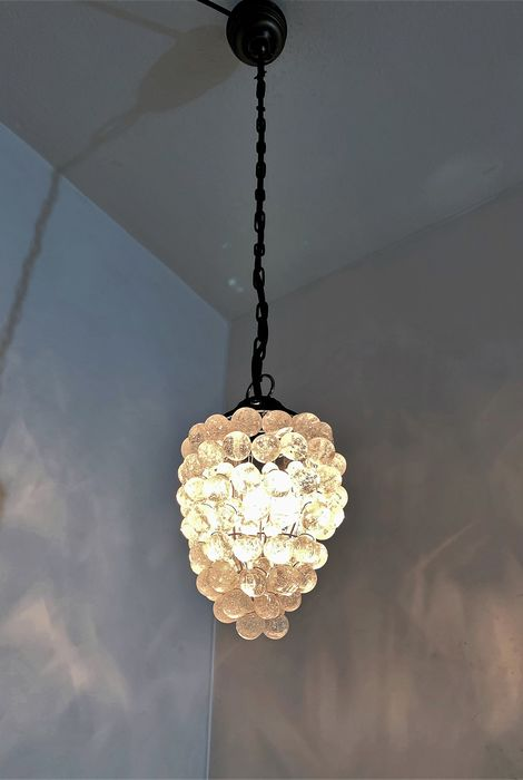 Italian grape bunch lamp with beautiful crystal glass clear as water droplets (1) - mouthblown crystal glass, bronzed brass