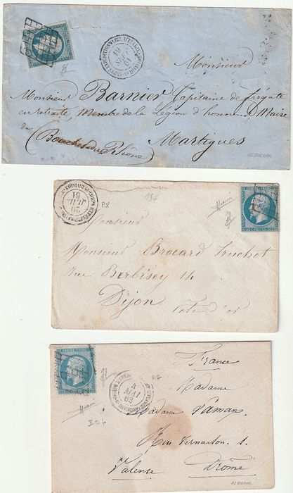 Corps. Expeditionnaire d'Italie 1861/63 - 3 envelopes stamped with 20 cents France cancelled with various grids