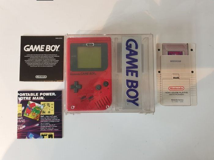 Nintendo dmg-01 1989 Rare Hard Box +Extremely Rare Poster and Gameboy Card - Gameboy Classic Limited Edition Red matching serial# - In original sealed box