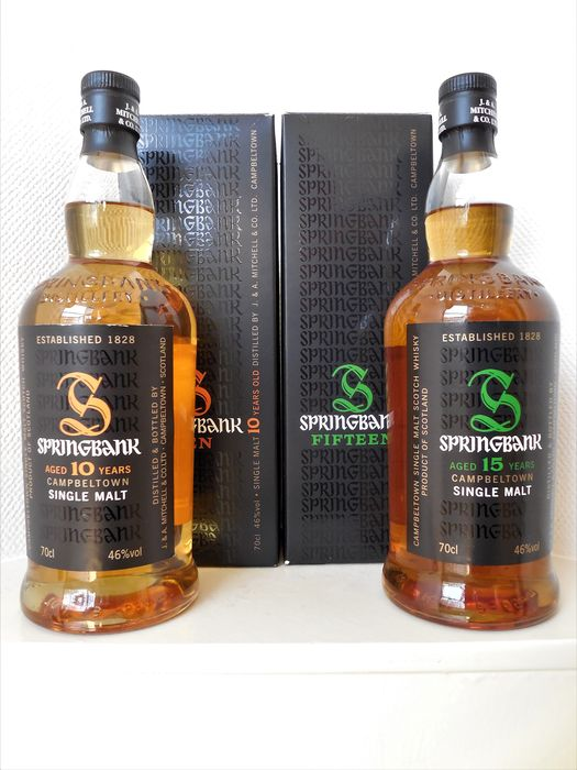 Springbank 15 years & 10 years old - Original bottling - 70cl - 2 bottles