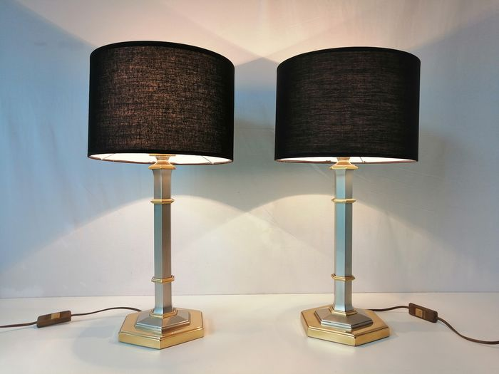 Table lamp, Pair of modern table lamps with golden accents - Mid-Century Modern