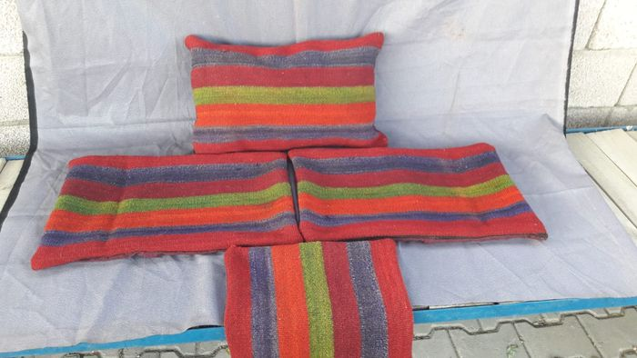 handknotted pillowcase, cushion (4) - wool, cotton - Second half 20th century