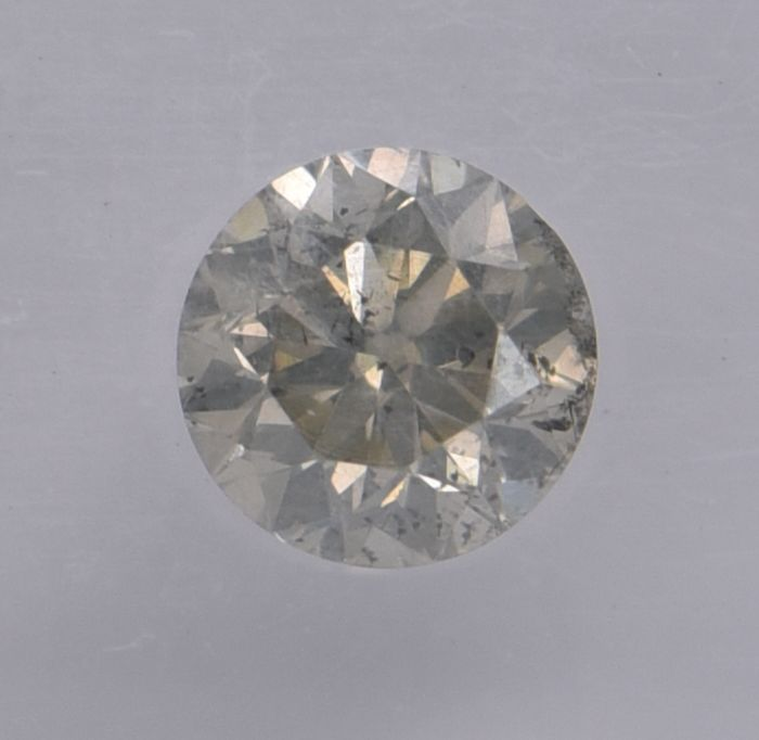 1 pcs Diamond - 0.62 ct - Round - fancy light greyish green - I2, No Reserve Price!