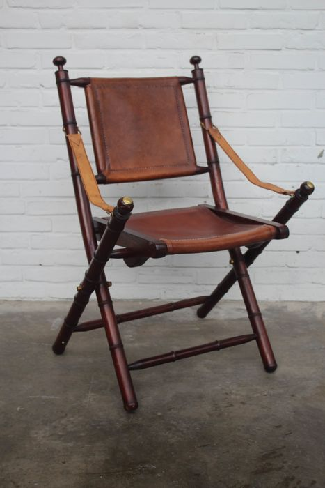 Officer's chair with leather seat, brass detail - Leather, Wood