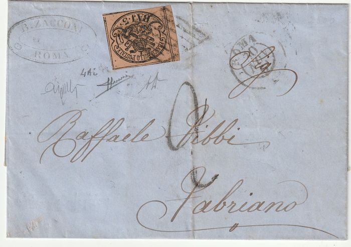 Pontifical 1861 - 3 baj variety without bow on the left on letter from Rome to Fabriano - Sassone N. 4Ai